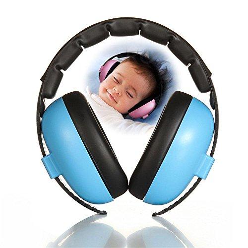 AOLVO Proteccion Auditiva Niños Bebe, Orejeras Antiruido Ajustable Protectores de Oído para Bebés Desde 6 Meses y Niños, Azul