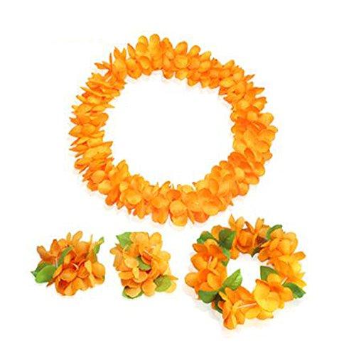 Flor-hawaiana-Hula-Lei-Decoracin-de-eventos-Artculos-de-Orange