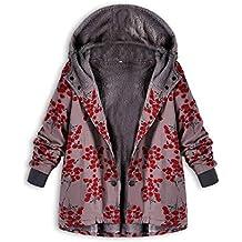 Luckycat Womens Winter Warm Outwear con Estampado Floral Bolsillos con Capucha Abrigos de Gran tamaño Vintage