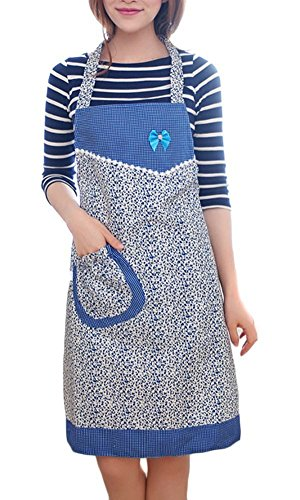 hugestore Vintage bowknot floreale cucina ristorante Cooking Chef Bib Grembiule con tasca per le donne Blue