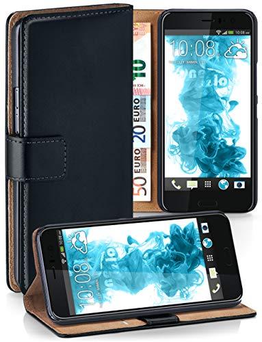 moex® Booklet mit Flip Funktion [360 Grad Voll-Schutz] für HTC U11 | Geldfach & Kartenfach + Stand-Funktion & Magnet-Verschluss, Schwarz