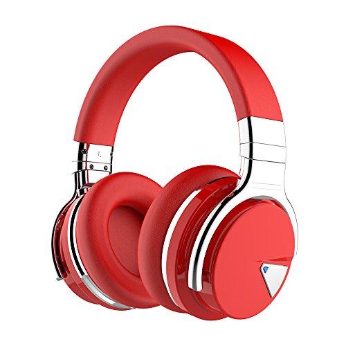 cowin E7 Active Cancelación de Ruido Auriculares Bluetooth con Micrófono Hi-Fi Deep Bass Auriculares Inalámbricos sobre El Oído, Cómodo Protein Earpads, 30 Horas Playtime para Viaje (Rojo)