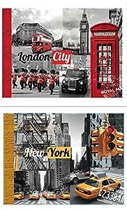 TOILEMANIA Lot 2 Tableaux impression sur toile LONDON CITY et NEW YORK