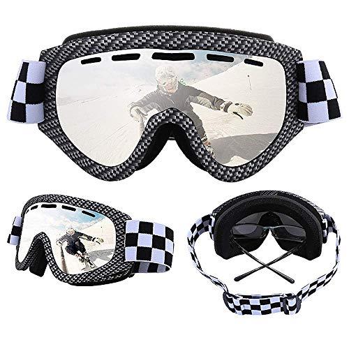 Exquisite Skibrille Professionelle UV400, doppeltes Gläser, zylindrische Brille, für Outdoor-/Ski-/Cross-Country-Brille, Anti-Beschlag, doppelschichtig, sandfest, silberfarben