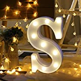 Transer Alphabet LED Letter Lights, LED Marquee Warm White Light Up Letters Sign For Wedding Birthday Home Party Bar Decoration Night Light Lamp (S)