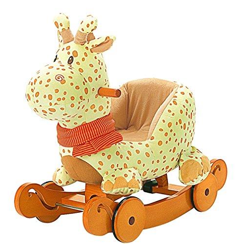 Labebe Baby Schaukelpferd Holz, 2-in-1 Schaukelpferd mit Räder, Schaukeltier Giraffe Gelbe für Baby 1-3 Jahre Alt, Schaukel Pferd/Schaukel Baby/Schaukeltier Musik/Schaukel Kinder/Schaukel Spielzeug (Ich Pflege, Weil Sie)