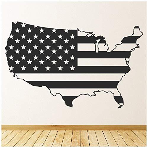 azutura Amerika-Flagge Wandtattoo USA Karte Wand Sticker Schlafzimmer Wohnzimmer Wohnkultur verfügbar in 5 Größen und 25 Farben Mittel Wolke Grau