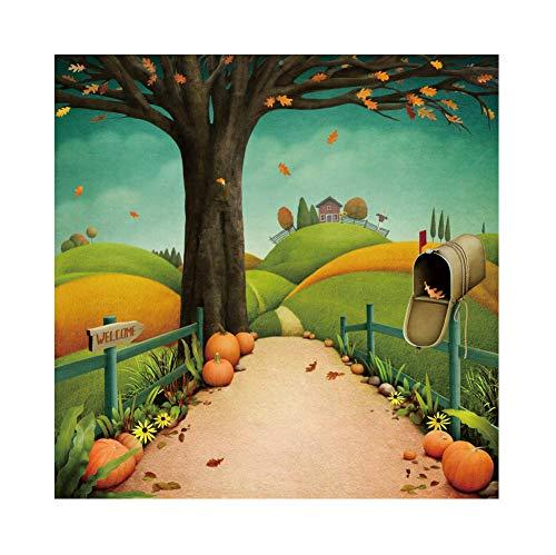 OERJU 1,5x1,5m Halloween Hintergrund Herzlich willkommen Straßenschild Briefkasten Kürbis Ahorn Karikatur Hintergrund Halloween Party Fotografie Süßes oder Saures Kinder Party Banner Dekoration