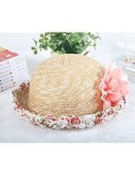 Tinksky Sol Playa sombrero de amplia ala de ganchillo paja Cap vacaciones viajes, regalos para las madres o regalo para las niñas de las mujeres