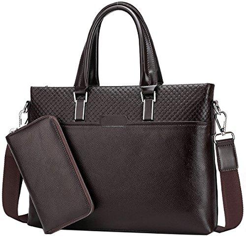 Borsa Da Lavoro Uomo Yy.f Due Borse Da Uomo E Da Donna Borsa Da Viaggio Classica Pratica Borsa Per Computer Molti Stili (nero E Marrone) Black+Handbag