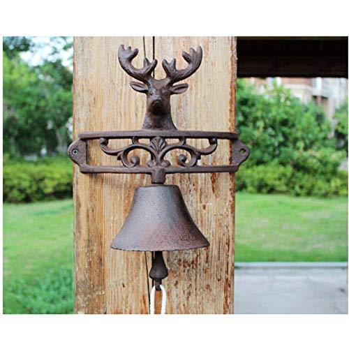 Metal Antiguo Lucky Deer Decorativo Timbre de la Campana Colgante de Pared...