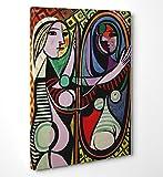 FINE ART - Picasso 'Girl Before A Mirror' - Cuadro de tela canvas listo para colgar – medida marco (posterior) 2cm – fine art, 70cmx100cm