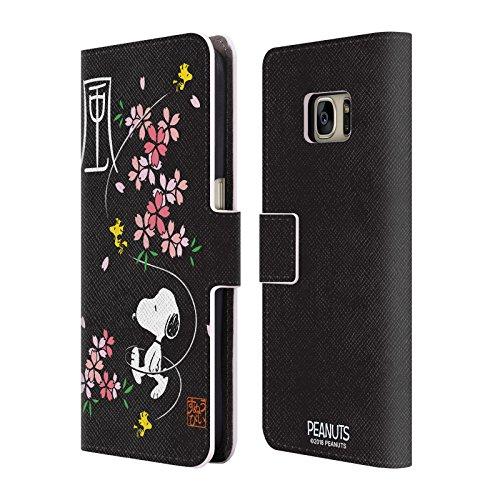 Head Case Designs Offizielle Peanuts Kirschen Blüten Orientalischer Snoopy Brieftasche Handyhülle aus Leder für Samsung Galaxy S7