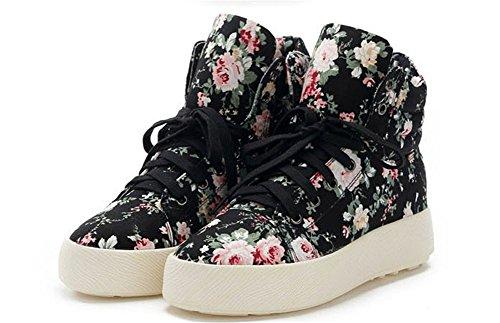 wealsex Sneakers Montante Compensée Femme Baskets Fleur Toile