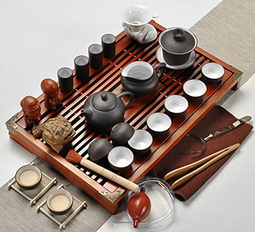 CUPWENH Lila Ton Kung Fu Tee-Set Drinkware Teetasse Terrine Infuser Chinesische Teezeremonie Mit Gaiwan Chahai Tea Table Für Geschenk Und Haushalts Büro