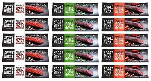 Grillido Sportwurst 15er Mixpack | der Trockenfleisch Protein Riegel |Rind&Chili; Original; Rind&Kräuter | 15 Packungen | Die Power Salami