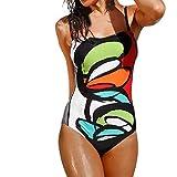 Bikini Set,Hevoiok Damen Bademode Einteiler Monokini Super Sexy Badeanzug Retro Blumendruck Push-up Gepolstert BH Hipster Bikinis Bauchweg For Mädchen Frauen (Multicolor, L)