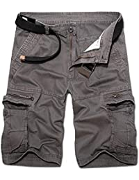 OEAK Pantalon de Travail Homme Cargo Chino Vintage Pantalon Randonnée Militaire Casual Durables avec Multi Poches en Coton/Short Bermuda Homme