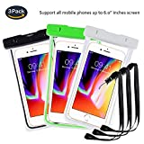 pinlu® 3 Pack IPX8 Wasserdichte Tasche, für Smartphones bis 6 Zoll, für Wiko Pulp Fab 4G, Wiko Pulp 3G, Wiko Pulp 4G, Wiko Rainbow 3G, sandproof Protective Shell -Schwarz+Weiß+Grün