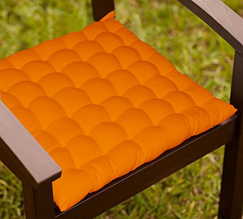 Lushomes Orange Comfy Cotton Chair Cushion with 36 knots & 4 tie backs  available at amazon for Rs.389