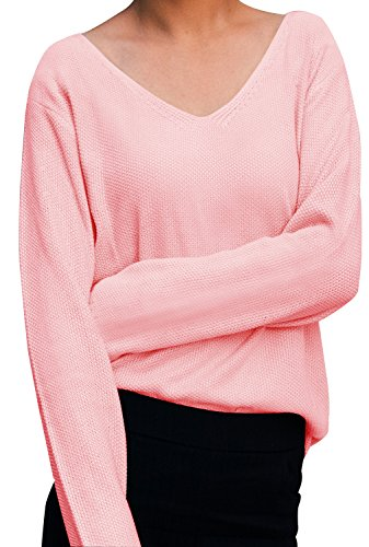 iPretty Women Long Sleeve Knitted Pullover Loose V Neck Loose Sweater Casual Jumper Tops Knitwear T-Shirt - 51sImJJ8twL - iPretty Women Long Sleeve Knitted Pullover Loose V Neck Loose Sweater Casual Jumper Tops Knitwear T-Shirt