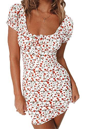 Damen Sommer hohe Taille trägerloses Kleid Vintage böhmische hohe Taille Blumendruck Strand Minikleid (White, L) - Off White Kleid Hose