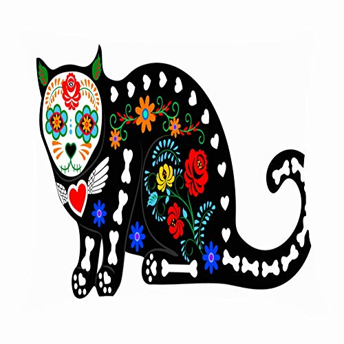 tuyi Calavera cat Isolated on White Mexican Animals Wildlife Dead Throw Pillow Covers Cotton Linen Cushion Cover Cases Pillowcases Sofa Home Decor 18