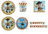Party Store web by casa dolce casa Toy Story 4 Coordinato ADDOBBI TAVOLA Festa Woody E Buzz Lightyear - Kit n°5 CDC-(40 Piatti,40 Bicchieri,40 TOVAGLIOLI,1 Pallone Foil ,1 Ghirlanda)