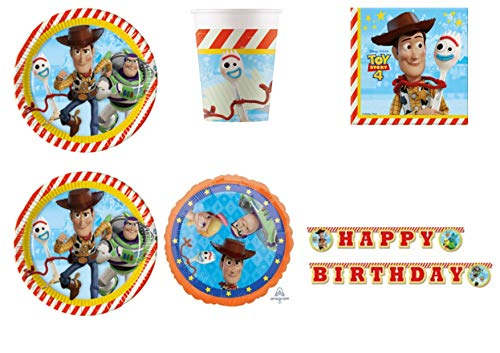 Party Store Web by Hause Toy Story 4 geordneter Tisch für Festa Woody und Buzz Lightyear - Kit Nr. 5 CDC-(40 Teller, 40 Gläser, 40 Töpfchen, 40 Servietten, 1 Luftball) (Story Party-dekorationen Toy)