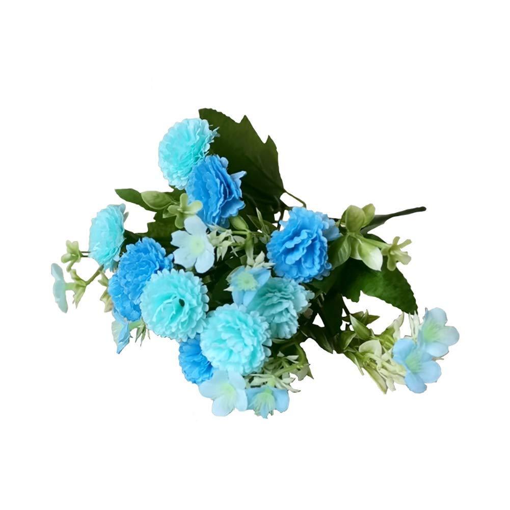 Ogquaton Flor Artificial Clavel Falso Home Garden Decor Azul Durable y útil