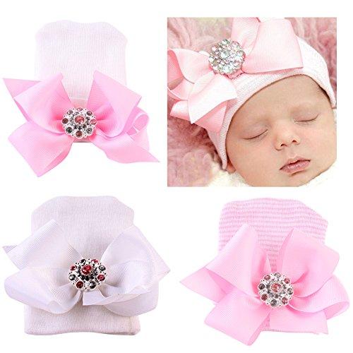 COUXILY Babymütze Baby Mädchen Mütze Neugeborenenmütze Erstlingsmütze Strick Hüte Mützen & Caps Hut- Baumwolle für 0-2 Jahre (H-S03)