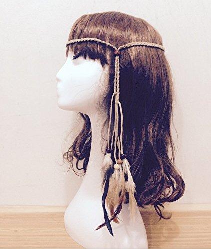 aukmla Haar Bands für Frauen mit Holz Perlen Haar Zubehör Bohemian Hippie Haarband Pfauenfeder Anhänger (Hippie Make Up Und Haare)