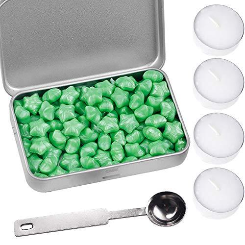 1 Box Pentagramm Siegelwachsperlen mit 3 Stück Teekerzen und 1 Stück Wachsschmelzlöffel, für Wachsstempel, Versiegelung, Briefmarken, Hochzeiten, Geschenkverpackungen und mehr grün -