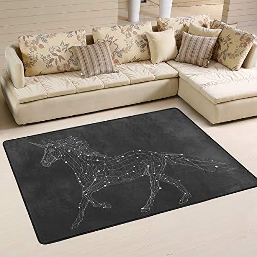 JSTEL - Alfombra Lavable de Unicornio y Lunares, 90 x 60 cm, cómoda Alfombra para salón o Dormitorio, 90 x 60 cm