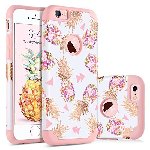 BENTOBEN Coque iPhone 6S, Coque iPhone 6 Ananas, Etui iPhone 6, Etui de Protection Antichoc Résistante Durable 2 in 1 Double Couches PC Durable + Silicone Souple pour Apple iPhone 6S/6 4.7'', Rose