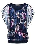 BAISHENGGT Damen Falten Kurzarm Tunika Batwing Rundkragen Bluse Blau-Blumen X-Large