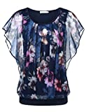 BAISHENGGT Damen Falten Kurzarm Tunika Batwing Rundkragen Bluse Blau-Blumen Medium