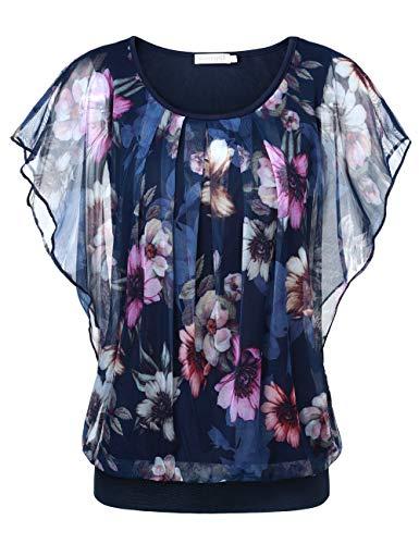BaiShengGT Damen Falten Kurzarm Tunika Batwing Rundkragen Bluse Blau-Blumen X-Large -