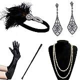 Coucoland 1920s Accessoires Set Damen Gatsby Kostüm Zubehör Set Inklusive Stirnband Halskette Handschuhe Ohrringe Zigarettenhalter (Set-4)