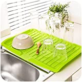 #10: RKPM Dish Drainer Tray Large Sink Drying Rack Worktop Dish Drainer Fit For Kitchen Green