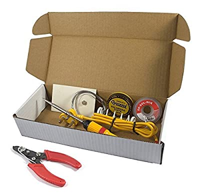 ElectroBot 6 in 1 Electric Soldering Iron Stand Tool Wire Stripper Kit with 25W Welding Stick Set