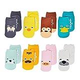 Baby Socken mit Griffen Non Slip Skid Kleinkind für Jungen Mädchen, 8 Paar pro Pack von ASBYFR (S 0-2 Jahre)