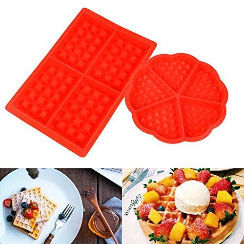 Asien Waffelbackformen Nonstick Silikon quadratische Form Herzform Waffel-Form-Beh?lter, Packung mit 2 Biscuit Moulds, Rot - Waffel Silikon-form