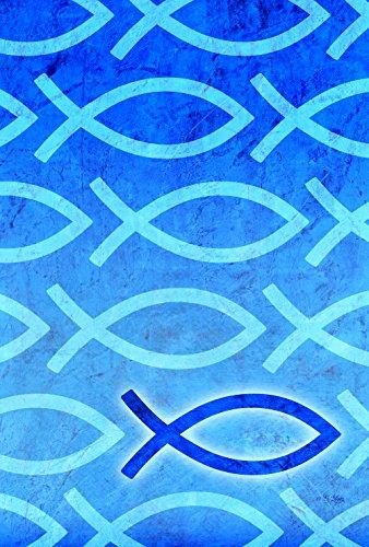 Toland Home Garden 1110767Jesus Fisch Religiöse/Inspirierende Garten Flagge, Textil, S-12.5 x - Fußball Inspirierende