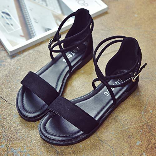 MRXILX Sandalen,Koreanische Niedrig - Sandaletten, Die Kreuzbänder Retro Römische Schuhe, Eine Taste Studentenwohnung Sandalen, Schwarz, 36 -