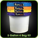 Bubblebagdude Extraktionsbeutel 22,7l Set mit 4Beuteln–Kräuter-Extraktionsbeutelset - wird mit Sieb zum Durchdrücken und Aufbewahrungstasche geliefert