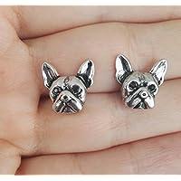 Selia Bully Ohrring Französische Bulldogge Ohrstecker minimal Hund Silber Dog handgemacht Modeschmuck Schmuck, studs geschenk