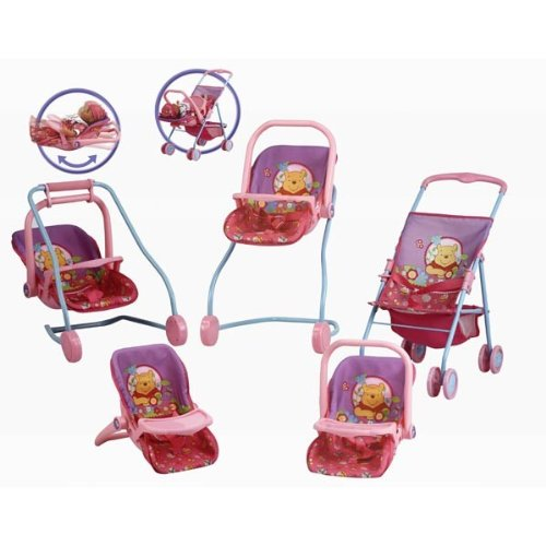 Preisvergleich Produktbild Puppenset Puppenwagen Disney Winnie Pooh 7in1 Hauck Puppe