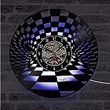 Asbjxny Tablero De Ajedrez Puntos Redondos Huecos Disco De Vinilo Círculo Disco Rueda Diseños Led Reloj Colgante Regalo para DJ Decoración para El Hogar