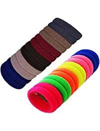 FOK Elastic Cotton Rubber Hair Bands for Women (Assorted) - Set of 50